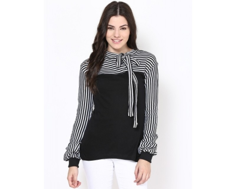 Athena Casual Full Sleeve Striped Women's Top