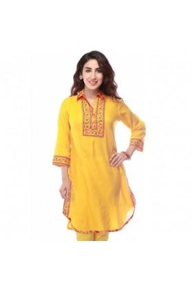 Ladies Cotton Yellow Floral