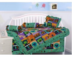 Salona Bichona Cotton Bedding Set  (Green)