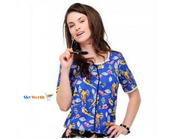 Mailori Printed Top Blue