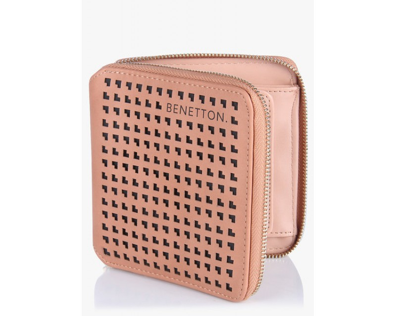 United Colors of Benetton Laser Cut Small Square Peach Wallet